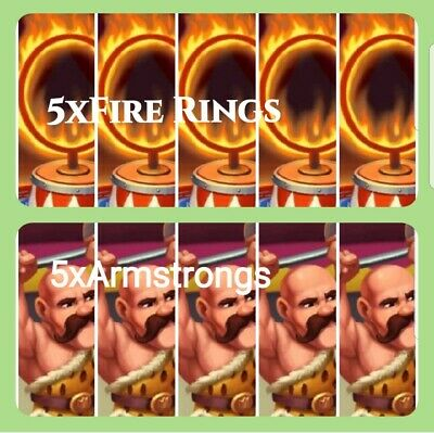 5x Fire Rings 5x Armstrongs Coin Master Cards(Fast delivery)