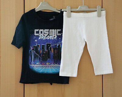 Next Girs Navy Back Kot Tie Top & White Cropped Leggings Age 7  Years BNWT