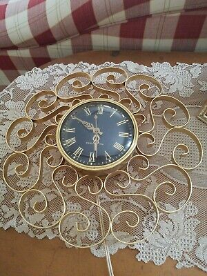 Vintage General Electric Telechrom Wall Clock 2HA60 Brass Scroll Retro Working