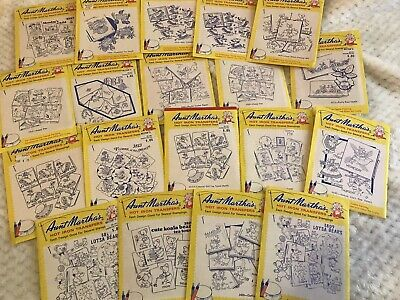 Lot Of 19 Aunt Martha's Hot Iron Textile Craft Transfers Vintage NOS Embroidery