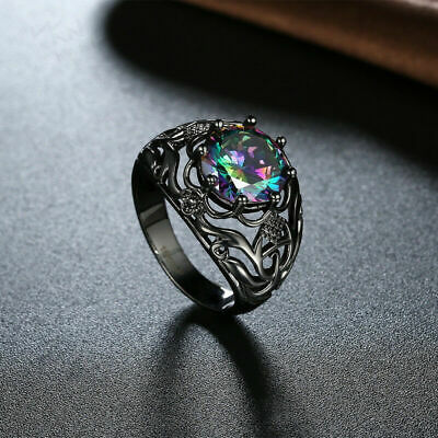 Silver Ring 14kt Black Gold Filled Rainbow Jewelry Size 6-10 Topaz Wedding