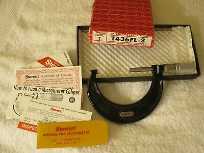 """Starrett 2""""- 3"""" Outside Micrometer T436FL-3 with Box and Wrench"""