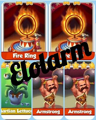 2x Fire Rings 2x Armstrongs&1x Martian Lettuce Coin Master Cards( Fast Delivery)
