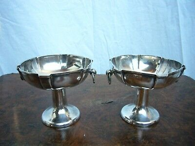 Antique William Hutton & Sons Sterling Edwardian Footed Pair of Bowls 1902
