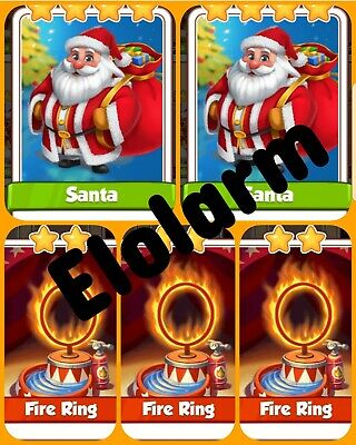 3x Fire Rings 2x Santa's  Coin Master Cards( Fast Delivery)