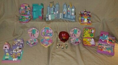 Rare Vintage Bluebird Polly Pocket Lot and doll figures compacts houses castle