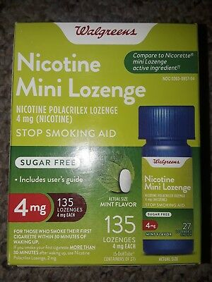 Walgreen Nicotine Mini Lozenge 135 Count 4mg Mint Exp 08/20 compare to Nicorette