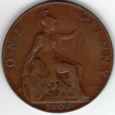 1906 One Penny King Edward VII Fine condition. Collectible Condition
