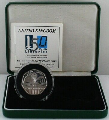 2000 Public Libraries 150 years Silver Proof Fifty Pence 50p coin, COA, Box