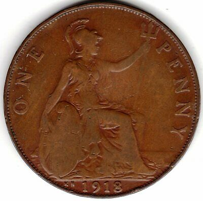 1918 KN (Kings Norton Mint Birmingham) One Penny King George V Fine Conditi