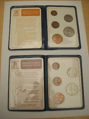 Great Britain- Two Britain's First Decimal Coins Sets in Folders 1968-1971