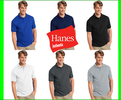 Hanes Golf Tee Men Polo Shirt Cotton-Blend Jersey Sport Comfort S to 6XL
