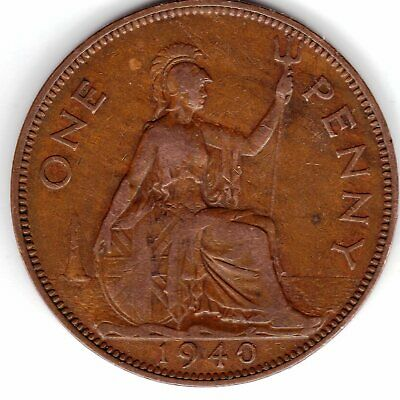1940 One Penny King George VI Near Extremely Fine condition