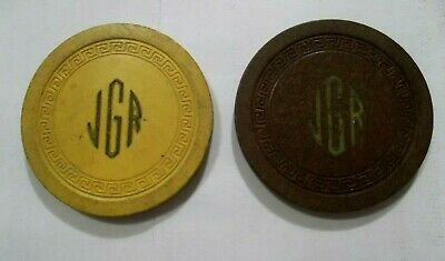 Jgr Lot Of 2 ~ Casino Chip ☀ Illegal Gambling Small Key Poker Chip