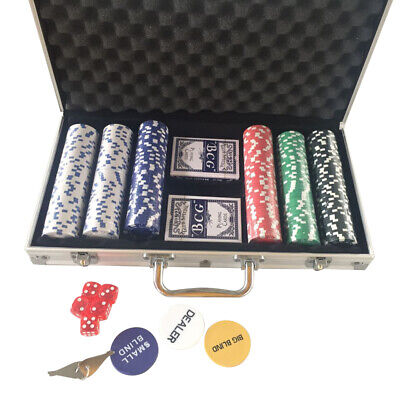 300 Chips Poker Dice Chip Set Texas Poker Cards Aluminum Case Tablecloth Dices