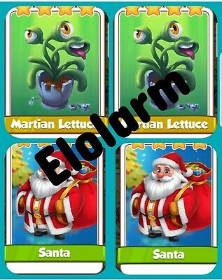 2x Martian Lettuce & 2 x Santa's :- Coin Master Cards ( Fastest Delivery )