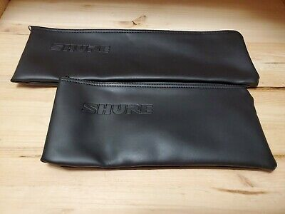 2 BRAND NEW Shure Wired Microphone Bag Zipper Pouch Case, Black Vinyl