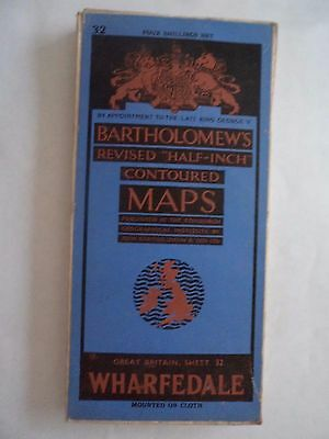 Barts CLOTH Map as Ordnance Survey Wharfedale 1945 Burnley Harrogate Shipley Yor