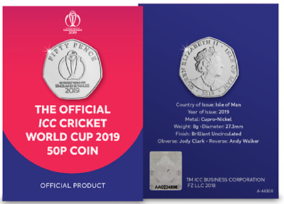 Icc Cricket World Cup 2019 50P Fifty Pence Coin Bu England Wales Edition Limit
