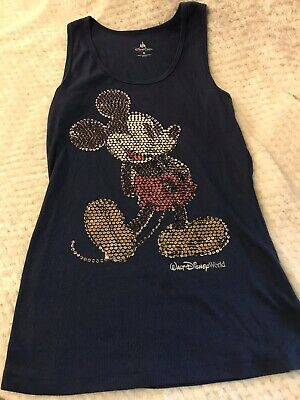 DISNEY PARKS DISNEYLAND Blue MICKEY MOUSE SEQUINS Ribbed TANK TOP Sz M Medium
