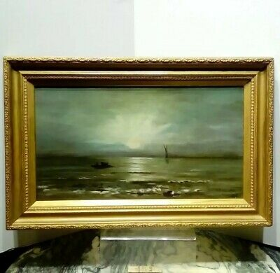 Antique Victorian Seascape Oil Painting. Signed. Dated. Interesting. No Reserve!