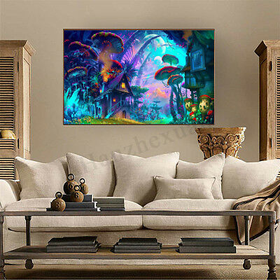 "26""x34"" Psychedelic Mushroom City Art Fabric Trippy  Silk Wall Poster Home Decor"