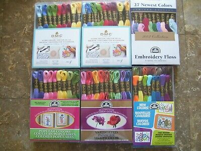 Lot of 6 Boxes (Total 187) DMC Skeins Assorted Colors Embroidery Floss Thread