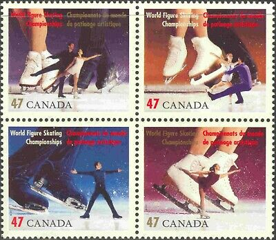 2001 Cda. #1899a Mint Never Hinged Block of 4 World Figure Skating Championship