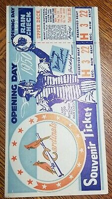 1950 St. Louis Cardinals Opening Day Ticket and Postcard - postcard sized