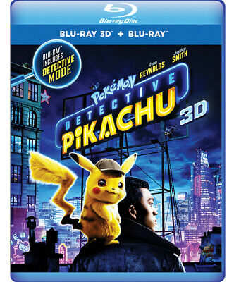 Pokemon Detective Pikachu (Blu-ray 3D + Blu-ray + Digital) Ryan Reynolds - New!