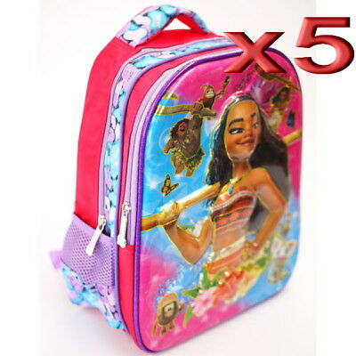 5pc Wholesale Kids Children Girls 4D Moana Backpack Bags 27x33cm