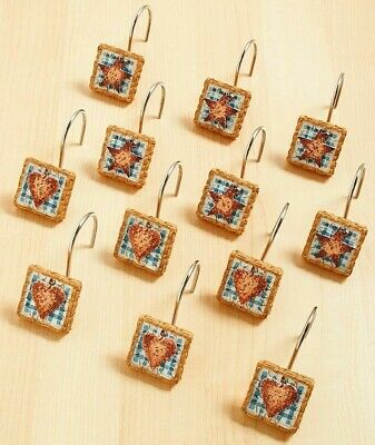 Set of 12 Heart and Stars Country Blue Bath Collection Shower Curtain Hooks NEW