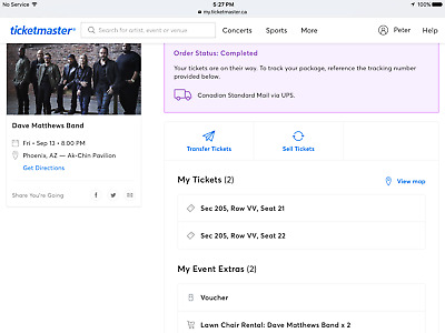 2 tickets for Dave Mathews Band tickets in Phoenix