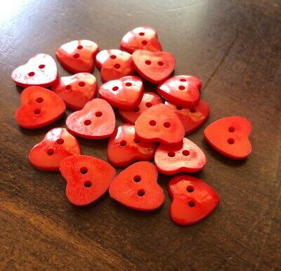 20 X Red 14mm Heart Plastic Buttons- Australian Supplier