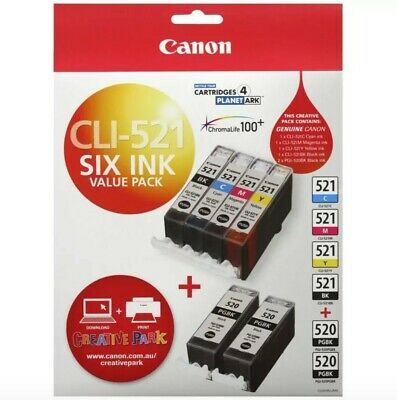 Genuine Canon CLI-521 6 x ink value pack BRAND NEW FREE EXPRESS POSTAGE!