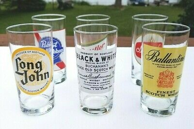 Beer Scotch Pint Glasses Ballantines Schaefers Miller Black & White - Collectors