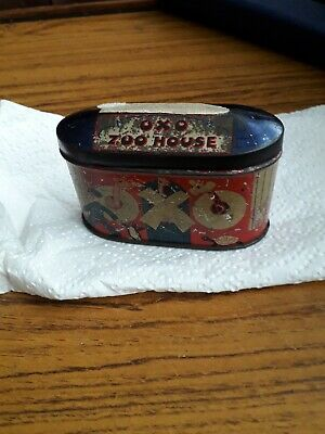 Vintage Zoo House Oxo cube tin from 1930s