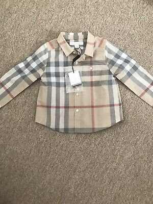 Burberry Baby Boy Pale Classic Check Shirt Age 12 Months BNWT