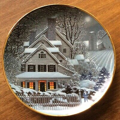 "Franklin Mint Collectors Porcelain Plate ""Winter Home "" By Paul MacWilliams NIB"