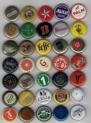 bottle caps BEER world selection used bottle cap 35 x diff old/new BEER set-AB
