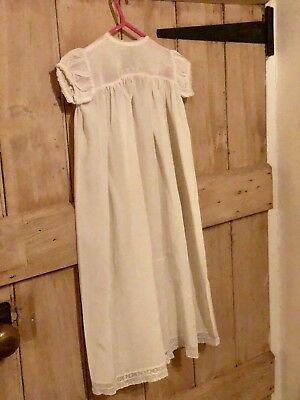 Stunning Victorian/Edwardian White Lace Silk Cotton Christening Gown Dress Doll