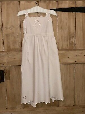 Victorian/Edwardian White Silk Wool Cotton Christening Gown Dress Doll Apron
