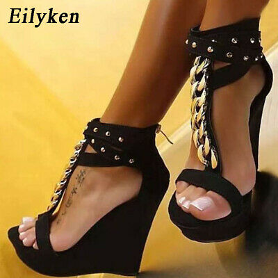 New Gladiator Sandals High Heels Fashion Sandals Chain Platform Wedges shoes