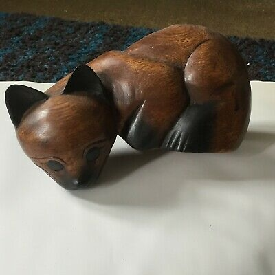 Large solid Wooden Cat Figurine Shelf Sitter 10 x 5 x5 in over 1kg