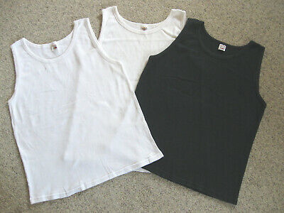 Lot of 3 Fruit of the Loom Ribbed Tank A-Shirt 1 Black 2 White w/Tags Men's XL