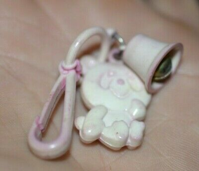 VTG 80s Light Pink Panda Bear with Bell For Clip On Charm Plastic Necklace 1980