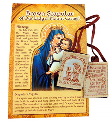 Brown Scapular Gift Pack Traditional Wool Catholic Embroidered with Cord and