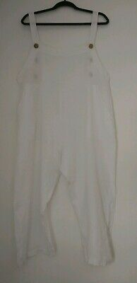 Made in Italy 100% Pure Linen White Dungarees Playsuit Romper Lagenlook One Size