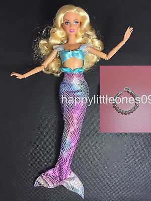 2pc set Barbie Doll Mermaid Outfit/Dress/Clothes& 1x Handmade Doll Necklace New