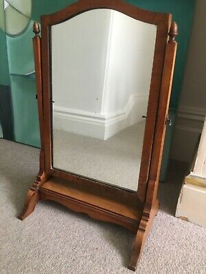 Antique dressing table toilet mirror 54cm, acorn finials, mercury glass, delight